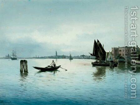 A calm day on the Venetian lagoon by Alberto Prosdocimi - Reproduction Oil Painting
