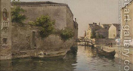 A Venetian backwater by Alberto Prosdocimi - Reproduction Oil Painting
