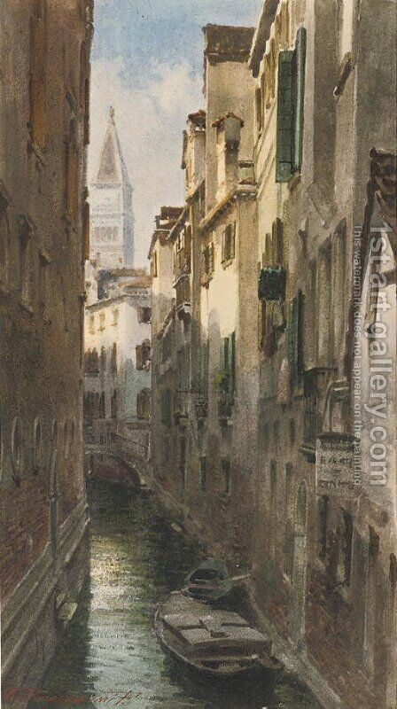 A Venetian backwater 2 by Alberto Prosdocimi - Reproduction Oil Painting