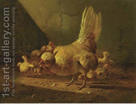 A hen and her chicks by Albertus Verhoesen - Reproduction Oil Painting