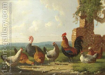 A rooster, chickens and a turkey by a ruin by Albertus Verhoesen - Reproduction Oil Painting