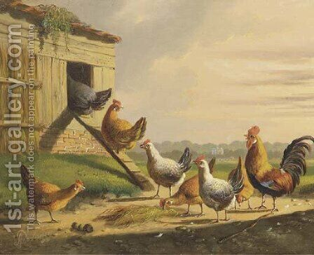 Going into the henhouse a good night's rest by Albertus Verhoesen - Reproduction Oil Painting