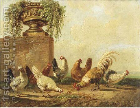 Poultry by a ruin by Albertus Verhoesen - Reproduction Oil Painting