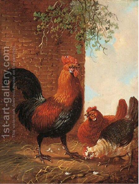 Poultry feeding by a wall by Albertus Verhoesen - Reproduction Oil Painting