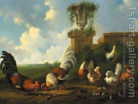 Poultry in a summer landscape by a ruined wall by Albertus Verhoesen - Reproduction Oil Painting