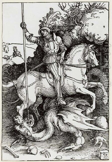 St. George killing the Dragon by Albrecht Durer - Reproduction Oil Painting