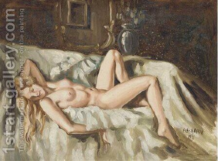 A reclining female nude by Arthur A. Dixon - Reproduction Oil Painting