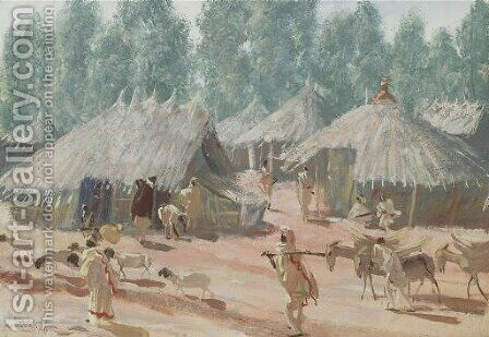 Etude de village Ethiopiens, region d'Addis Abeba by Aleksandr Evgen'evich Iakovlev - Reproduction Oil Painting