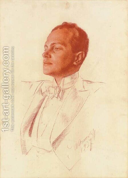 Portrait of Prokofiev by Aleksandr Evgen'evich Iakovlev - Reproduction Oil Painting