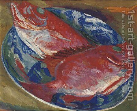 Still life with fish by Aleksandr Evgen'evich Iakovlev - Reproduction Oil Painting