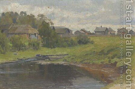 A village pond by Aleksandr Vladimirovich Makovsky - Reproduction Oil Painting
