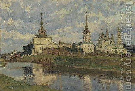 View of Russian church, Perm by Aleksandr Vladimirovich Makovsky - Reproduction Oil Painting