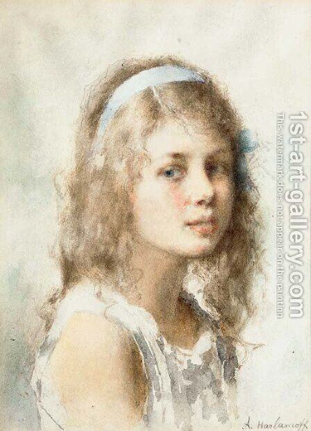 Portrait of Young Girl with Blue Ribbon by Alexei Alexeivich Harlamoff - Reproduction Oil Painting