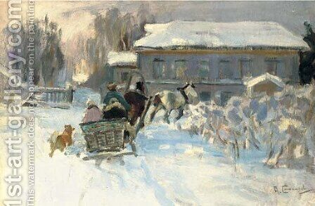 Sleigh ride by Aleksi Stepanovich Stepanov - Reproduction Oil Painting