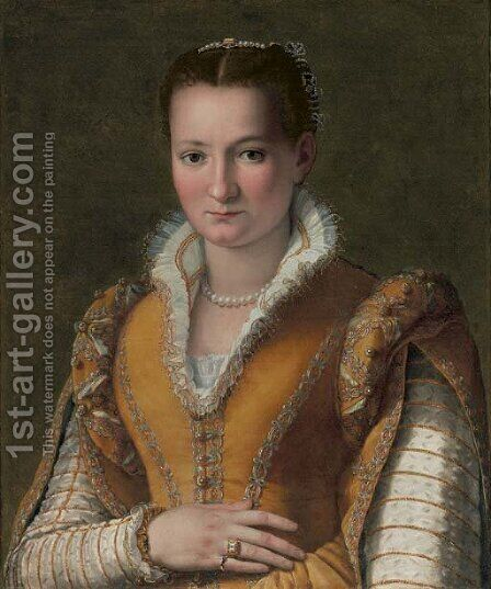 Portrait of a lady, possibly Bianca Capello de'Medici, half-length, in an embroidered gold dress and pearls by Alessandro Allori - Reproduction Oil Painting