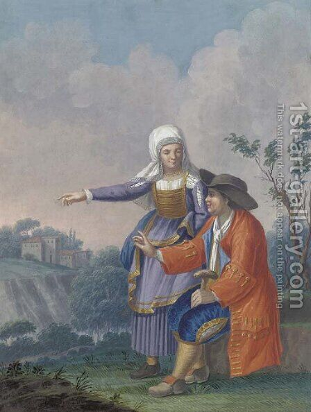 A gentleman and his wife in a landscape by Alessandro D'Anna - Reproduction Oil Painting