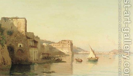 A view on Palazzo d'Anna and the bay of Naples, the Vesuvius in the distance by Alessandro la Volpe - Reproduction Oil Painting