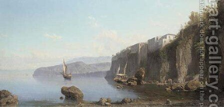 Fisherman off the Bay of Sorrento by Alessandro la Volpe - Reproduction Oil Painting