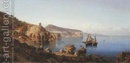 The Sorrentine Coast with a view of Vico Equense in the Bay of Naples by Alessandro la Volpe - Reproduction Oil Painting