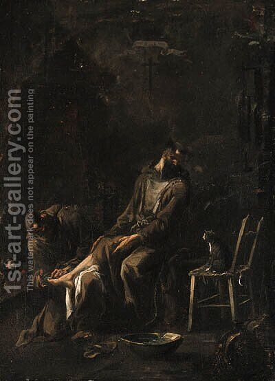 A Capuchin friar tending a companion's foot by a fire by Alessandro Magnasco - Reproduction Oil Painting