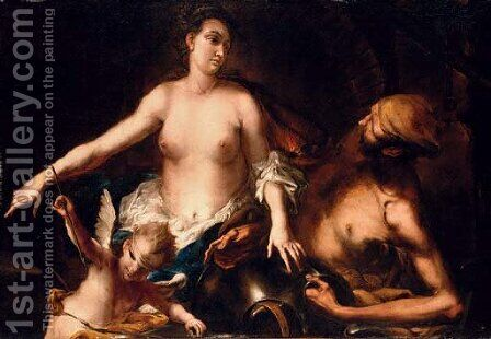 Venus at the Forge of Vulcan with Cupid blindfolded by Alessandro Magnasco - Reproduction Oil Painting