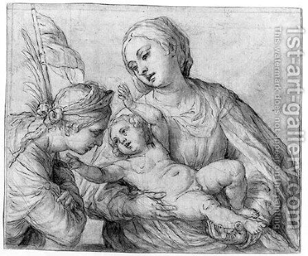 The Madonna and Child and a female Saint by Alessandro Turchi (Orbetto) - Reproduction Oil Painting