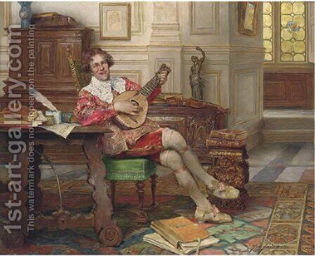 The jolly musician by Alex De Andreis - Reproduction Oil Painting