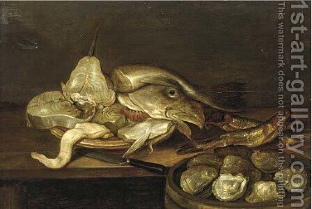 A bowl of clams with a plate of fish and oysters on a table by Alexander Adriaenssen - Reproduction Oil Painting