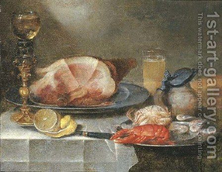 A ham, a lobster, a crab and shrimps on pewter plates with a roemer on a gilt stand, a glass of beer, an earthenware jug by Alexander Adriaenssen - Reproduction Oil Painting