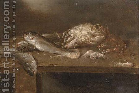 Crabs, pikes and shrimp on a wooden ledge by Alexander Adriaenssen - Reproduction Oil Painting
