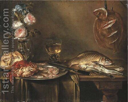 Roses and an iris in a glass vase, crabs and prawns on a pewter platter, a bread roll, a roemer and fish on a partly draped table by Alexander Adriaenssen - Reproduction Oil Painting