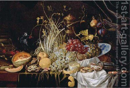 A Dutch Delft blue and white bowl with grapes, prawns on a pewter plate, crabs, a partly-peeled lemon and a melon on a partly-draped table by Alexander Coosemans - Reproduction Oil Painting