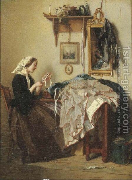 The young seamstress by Alexander Hugo Bakker Korff - Reproduction Oil Painting