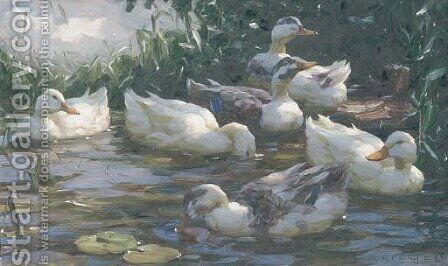 Ducks on a Lake 2 by Alexander Max Koester - Reproduction Oil Painting