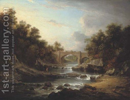 View on the River Almond, near Edinburgh, with Almondell Bridge and a fisherman by Alexander Nasmyth - Reproduction Oil Painting