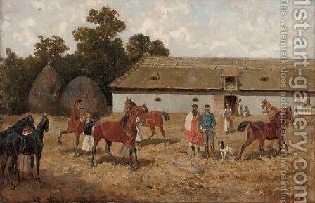 Training the horses by Alexander Ritter Von Bensa - Reproduction Oil Painting