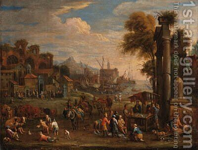 Peasants by a Mediterranean harbour with classical ruins by Alexander van Bredael - Reproduction Oil Painting