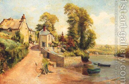 Figures In A Village Street With A River Beyond by Alexander Young - Reproduction Oil Painting