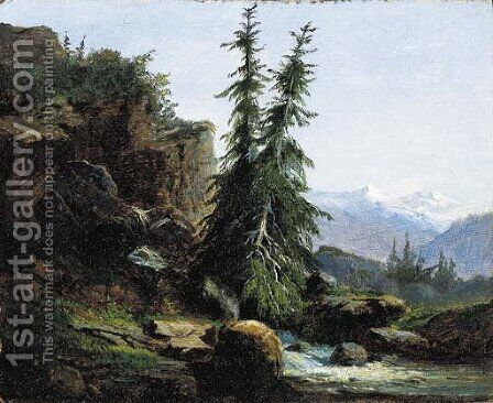 A view of the Swiss mountains of the Valais by Alexandre Calame - Reproduction Oil Painting