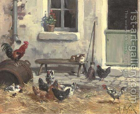 The farmyard by Alexandre Defaux - Reproduction Oil Painting