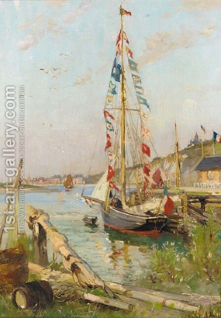 Un bateau decore a Dives by Alexandre Nozal - Reproduction Oil Painting