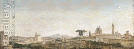 Capriccio View of Rome with the Monte de Giustizia and Villa Montalto Negroni by Alexandre-Hyacinthe Dunouy - Reproduction Oil Painting