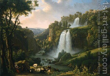 Landscape with waterfall by Alexandre-Hyacinthe Dunouy - Reproduction Oil Painting