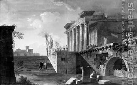 A capriccio of Roman ruins by Alexandre-Jean Dubois Drahonet - Reproduction Oil Painting