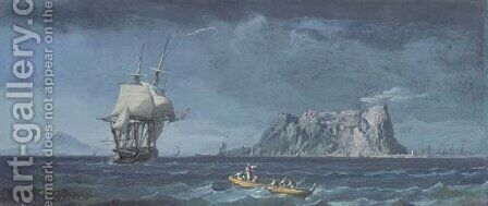 Shipping of the coast of Gibraltar by Alexandre-Jean Noel - Reproduction Oil Painting
