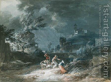 In the storm by Alexandre-Jean Noel - Reproduction Oil Painting