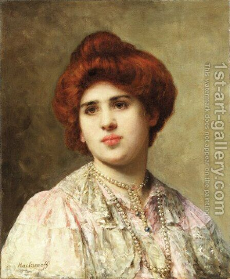 A auburn haired beauty in pearls by Alexei Alexeivich Harlamoff - Reproduction Oil Painting