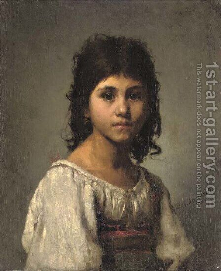 A young girl by Alexei Alexeivich Harlamoff - Reproduction Oil Painting