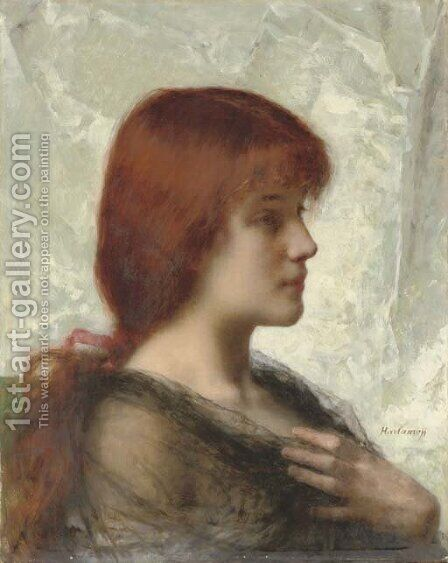 An auburn beauty by Alexei Alexeivich Harlamoff - Reproduction Oil Painting