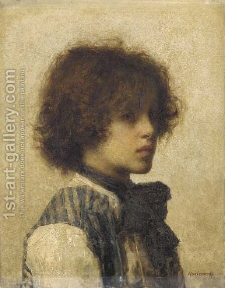 A Young Boy wearing a Striped Vest by Alexei Alexeivich Harlamoff - Reproduction Oil Painting